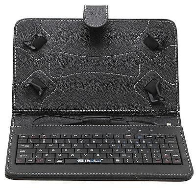 Leder Tasche Schutz Hülle mit Tastatur Fall Buttons für 7 Zoll Tablet PC Schwarz