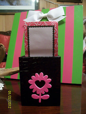 New Black With Hot Pink Glitter Daisy Memo Padpencil Pen Cup Desk Organizer