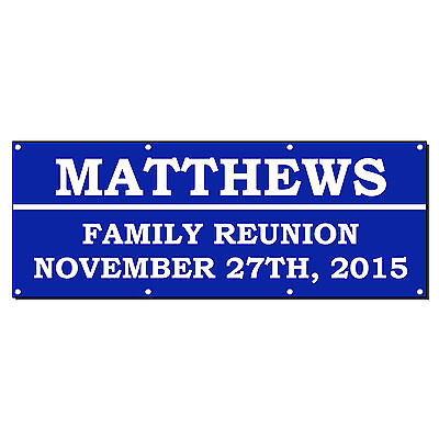 Family Reunion Welcome Custom Personalized Banner Sign 2 X 4 W 4 Grommets