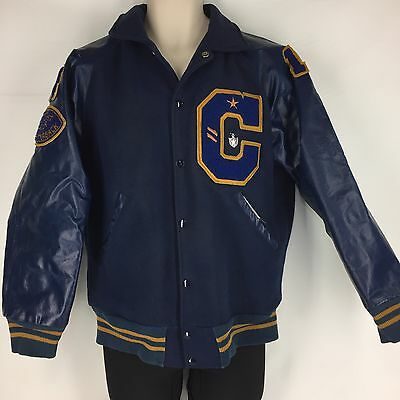 Vtg 70s Varsity Letterman Wool Jacket Snap Football Blue C Quarterback Size 42