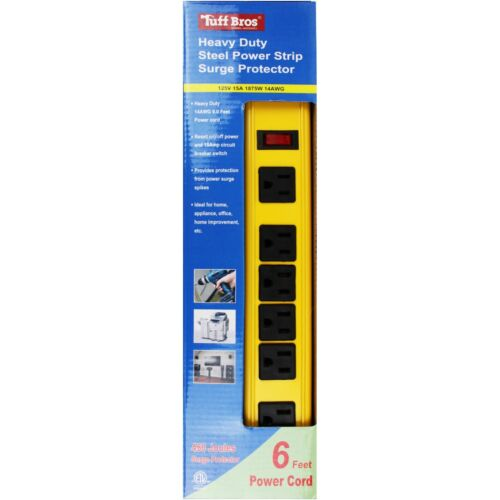 Tuff Bros 6 ft Extension Cord Heavy Duty Steel Power Strip w Surge Protector