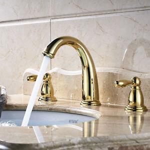 Gold Widespread Bathroom Sink Faucet Dual Handles 3PCS Basin Mixer Tap