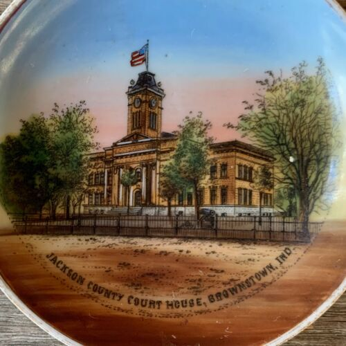 """Vintage JACKSON CO COURTHOUSE Souvenir China """"Butter Pat"""" Dish BROWNSTOWN IN"""