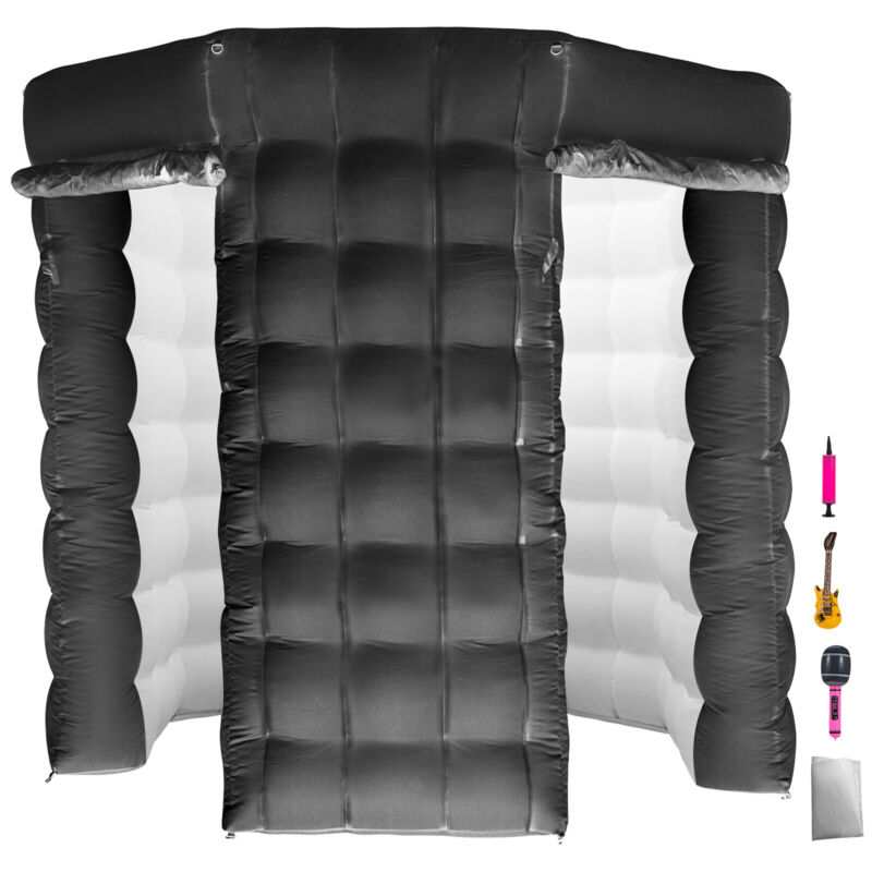 2.5M Inflatable LED Light Photo Booth Tent 2 Doors Party Birthday Wedding