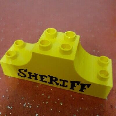 Lego Duplo YELLOW SHERIFF SIGN ARCH for Town Police TOY STORY Replacement Part