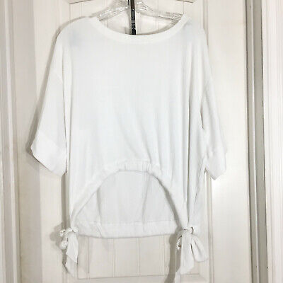 Gap Womens Top White Ribbed Jersey Knit Side Tie Oversized Blouse Shirt Size -