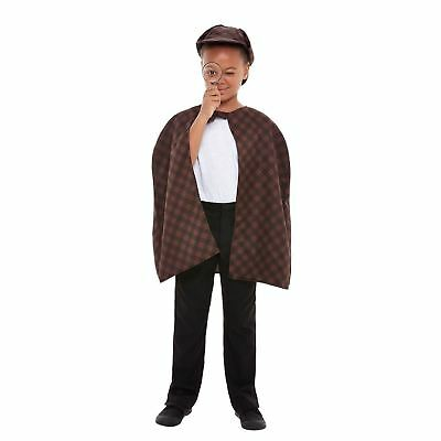 Kids Classic Detective Kit Hat Cape Magnifying Glass Book Day Character Costume (Children's Book Character Costumes)