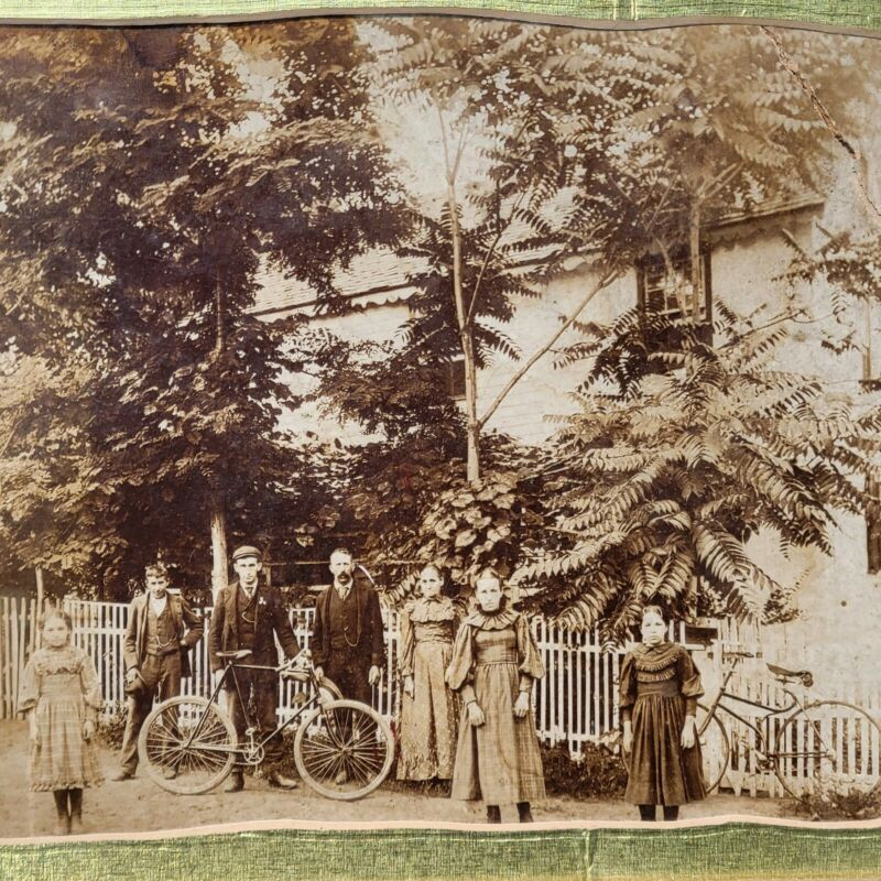 Old Vintage 1890s cabinet card photo boy & girl Antique bicycle bike photograph