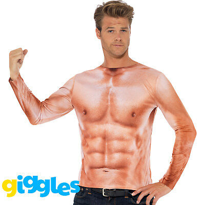 Muscle Man Outfit (Mens Realistic Muscle Chest T Shirt Top Stud Stag Fancy Dress Costume)