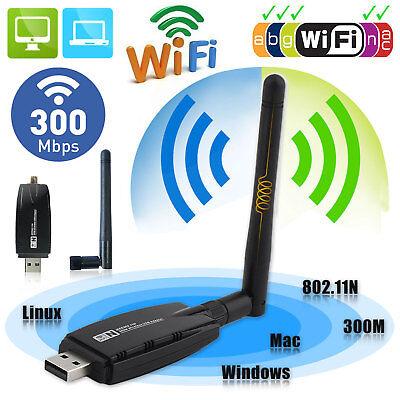 300Mbps Wireless USB WiFi Adapter Dongle Network LAN Card 802.11b/g/n w/ Antenna