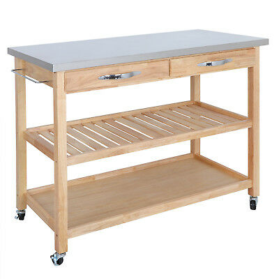 Kitchen Cart Steel Top (Smooth Stainless Steel Silver Counter Top Solid Hardwood Kitchen Cart Big Size )