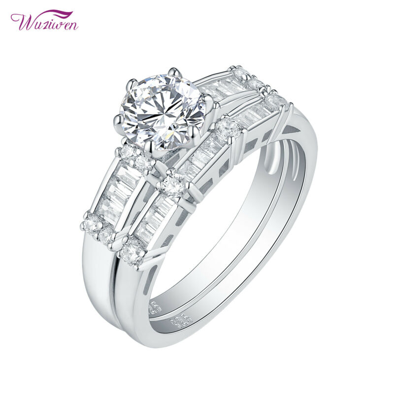 Wuziwen 1.8ct Round Cz 925 Sterling Silver Wedding Engagement Ring Set For Women