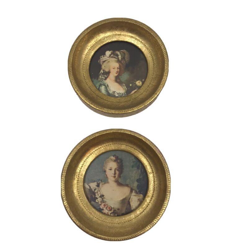 2 - Florentine Italy Italian Mini Portraits Gold Round Frame Florentine Pictures