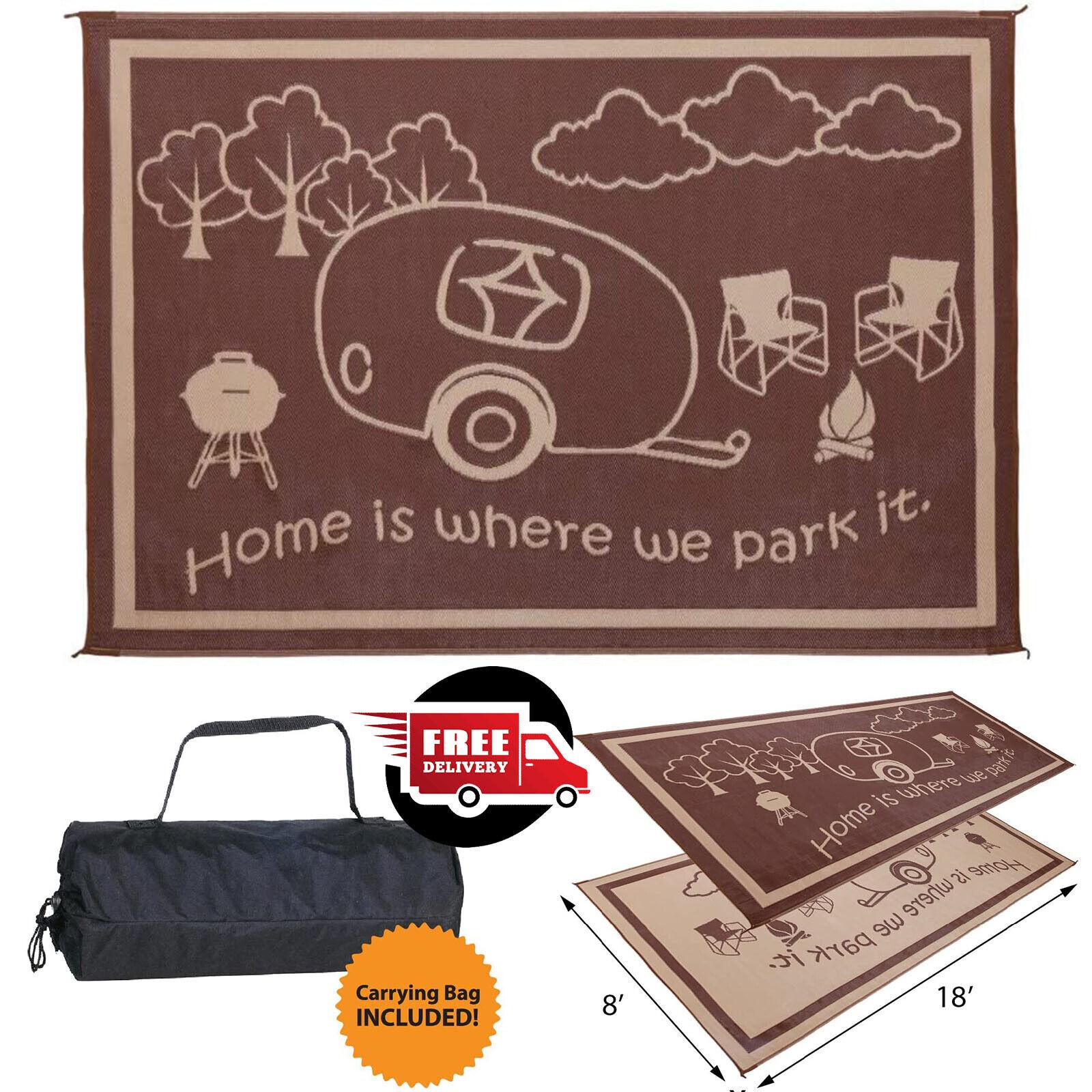RV Reversible Camping Mats Patio Outdoor Indoor Rug 8'x18' P