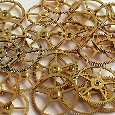 25 Flat Larger Watch Wheels Steampunk Gears Part Vtg Altered Art Watchmakers Lot