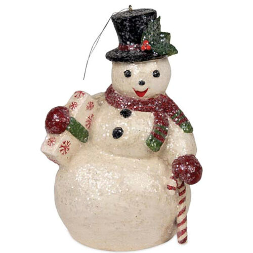 Bethany Lowe Snowman Sam Christmas Tree Ornament Glitter Retro Vntg Syle Decor