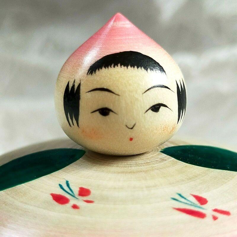 Japanese wooden doll Peach baby ejiko kokeshi Kakizawa Yoshinobu