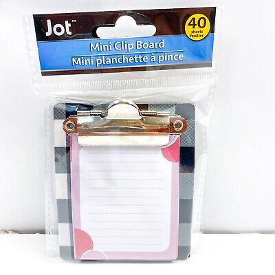 Jot Checkered Stripes Mini Clipboard With Notepad 40 Sheets 3.25 X 3.50