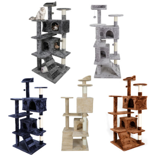 Grey/Beige/Blue/Brrown  53″ Cat Tree Tower Activity Center Playing House Condo Cat Supplies