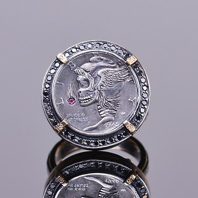 Hand Engraved Hobo Coin Ring with Diamonds, and Ruby in 14k YG and Silver