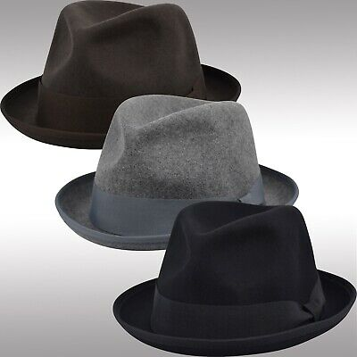 Men's Felt Wool Fedora Porkpie Hat, Pinch Crushable Stingy Edged Brim Hat FHe41