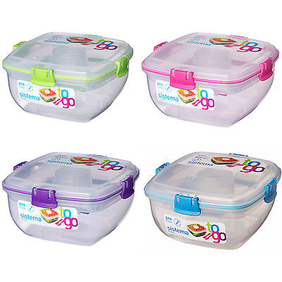 Sistema Plastic Salad Lunch Box Food Storage with Fork & Knife BPA & Lead Free