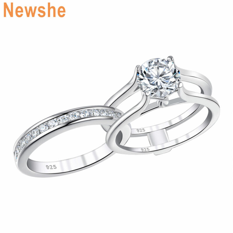 Newshe Wedding Engagement Ring Set Aaaaa Round Cz Sterling Silver For Women 5-10