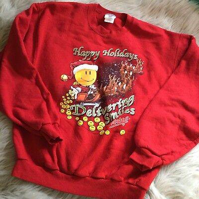 """Red """"Happy Holidays"""" Ugly Christmas Unisex Sweater Walmart Worker Rare Vintage ()"""