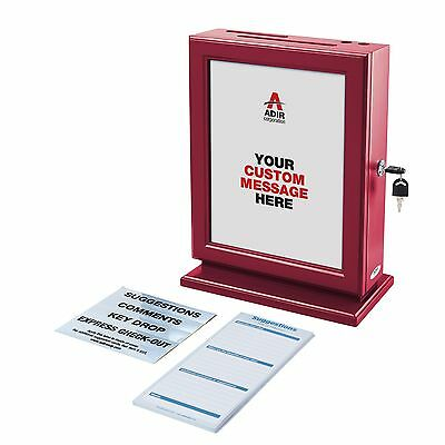 Adiroffice Customizable Wood Suggestion Box Donation Charity Box Red