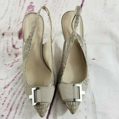 Calvin Klein High Heel Slingback Pointed Toe Pumps Shoes Women's Sz 8.5M Gray
