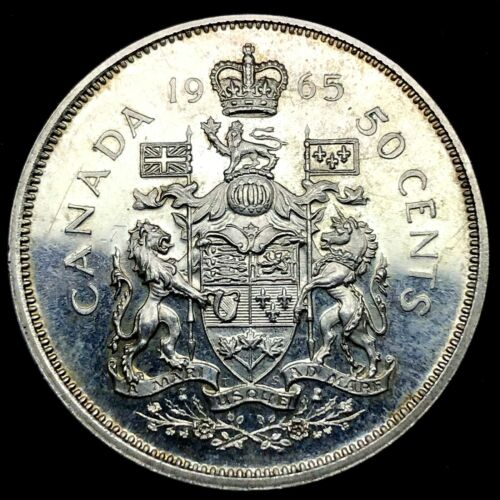 1965 PL - CANADA -50 CENTS- KM#63 - UNCIRCULATED SILVER COIN.