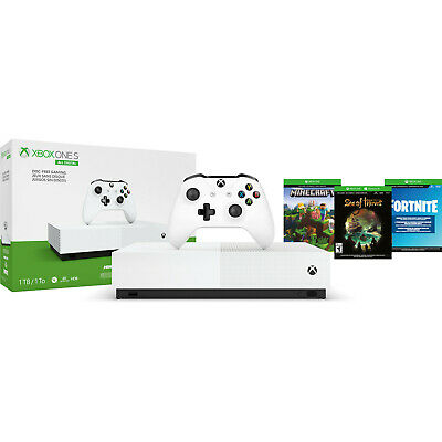 NEW Microsoft Xbox One S 1TB All Digital Disc-Free Edition 3 Game Bundle White