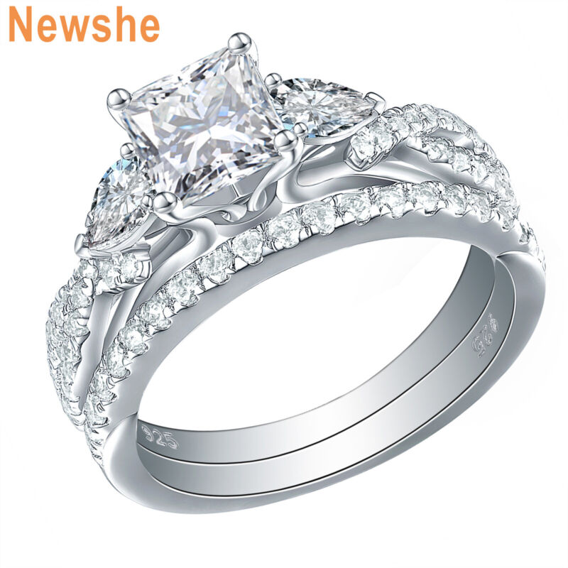 Newshe Wedding Engagement Ring Set For Women 3 Stone 925 Sterling Silver Aaa Cz