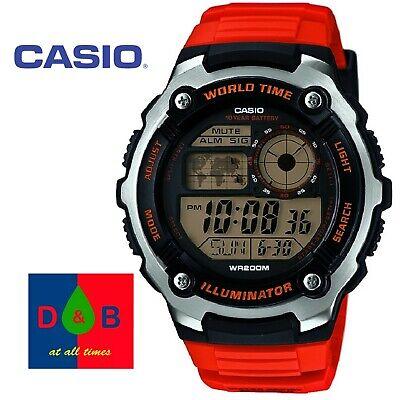 Casio AE-2100W-4AVEF Orange Strap CHRONOGRAPH Watch Scratch Resistant Glass