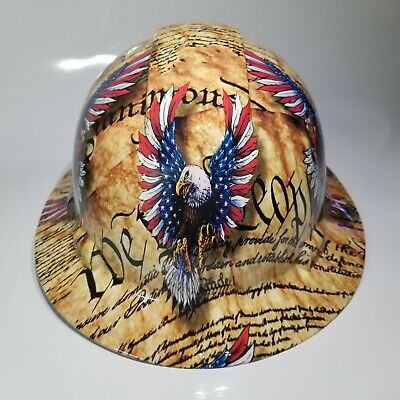 Full Brim Hard Hat Custom Hydro Dipped We The People Eagles Constitution Sick