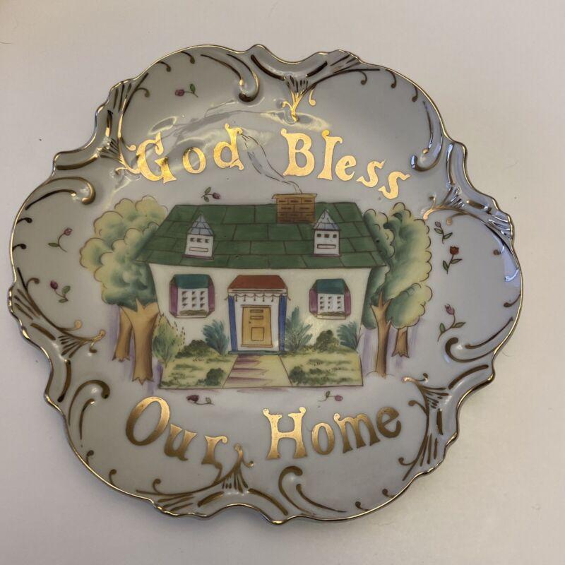 "Vintage 1956 Lefton ""God Bless Our Home"" Plate Kitchen Decor 8"" Gold Trim 60328N"