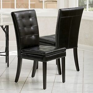 Set of 2 dining room black tufted leather dining chairs ebay for Tufted leather dining room chairs