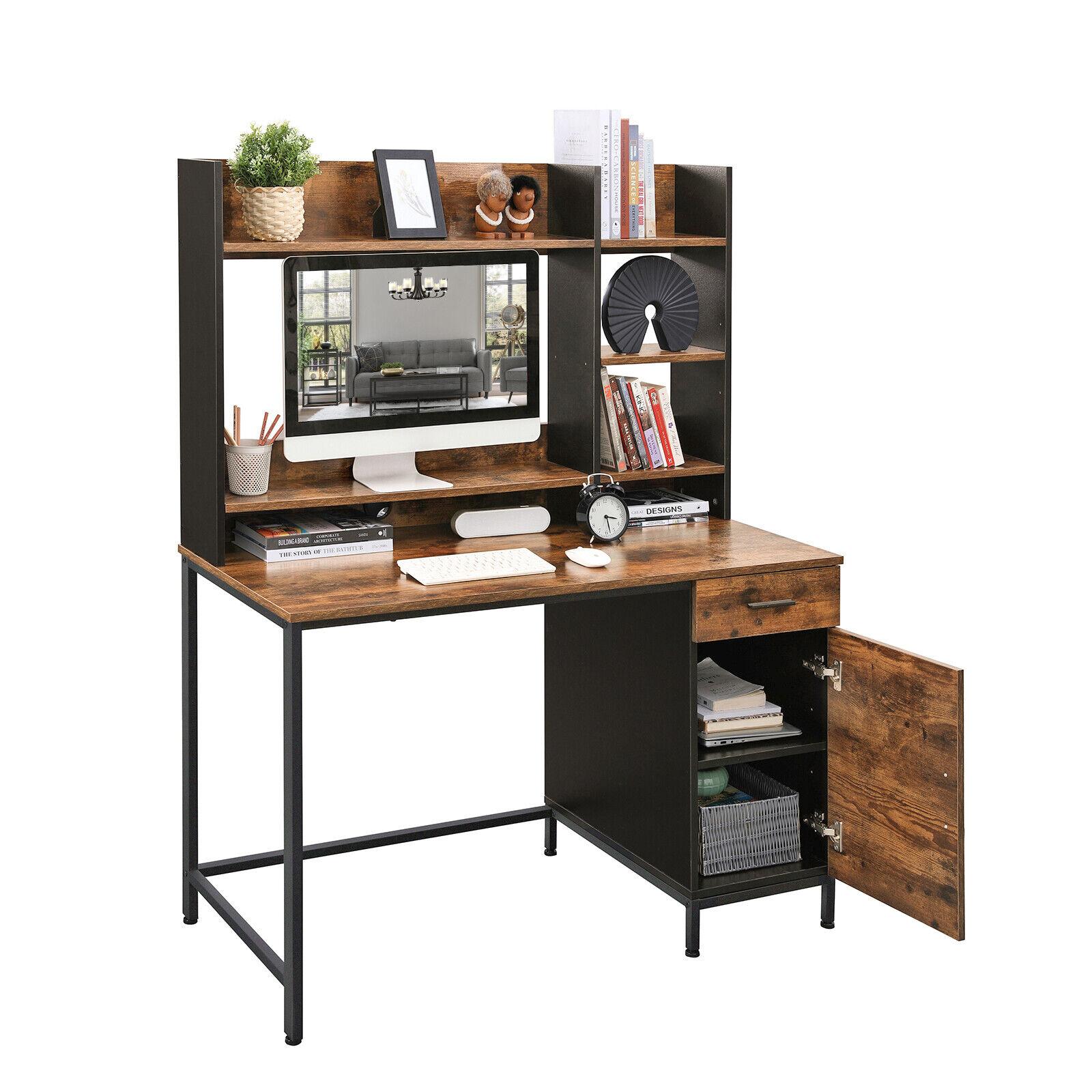 Vintage Computertisch, Schreibtisch, Bürotisch mit Schrank und Schublade LWD65X