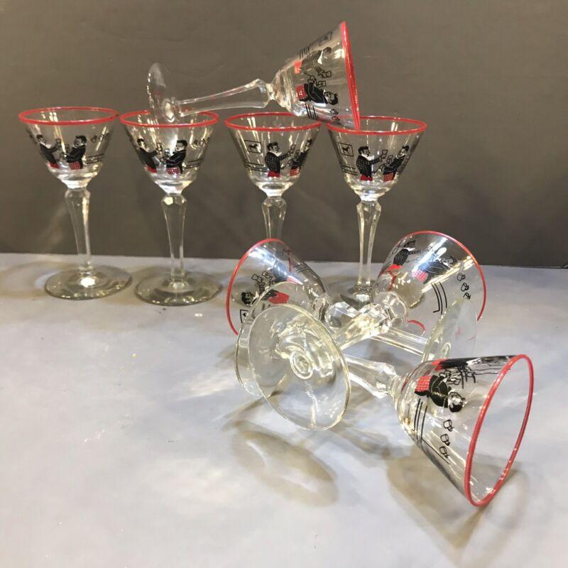 4 Mid Century Modernist 1940s Barware Four Manhattan Martini Glasses Stems HTF