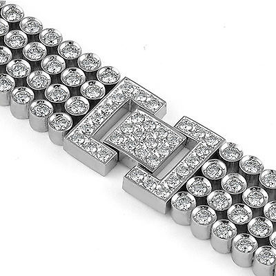 15.00 CT Round Natural Diamond Heavy Men's F VS1 Bracelet 14K White Gold 8.5""