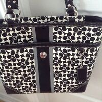 100% Authentic Coach black and white leather bag