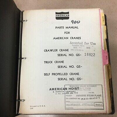 American 900 Series Crane Parts Manual Book Catalog Crawler Hoist Guide List