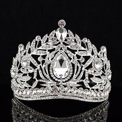 Fantastic Clear Austrian Crystal Rhinestone Tiara Crown Comb Prom Pageant T16