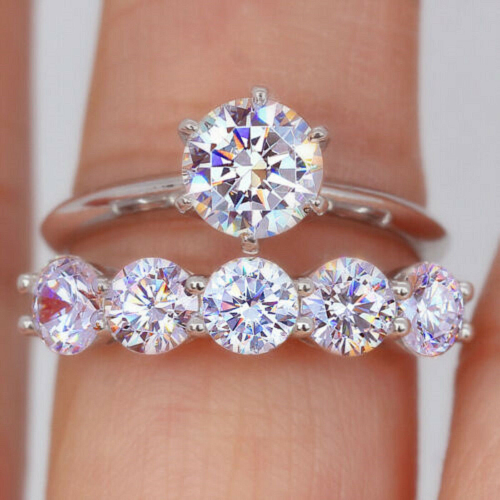 2.68Ct Stackable Round Diamond Engagement Wedding Ring Solid