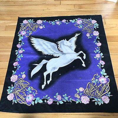 Rare Vintage HARLEY DAVIDSON Purple Unicorn Bandanna Rag Made in USA Bandana