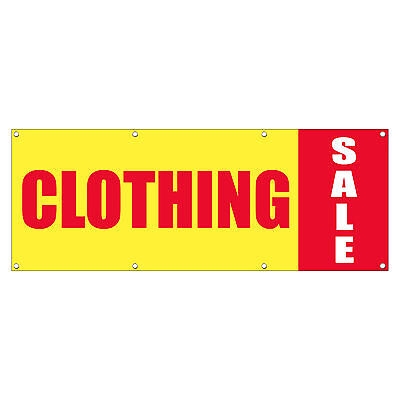 Clothing Sale Promotion Business Sign Banner 4 Feet X 2 Feet W 4 Grommets