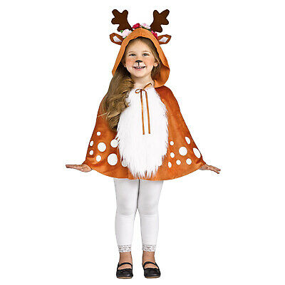 Child Toddler Girl Deer Fawn Animal Halloween Christmas Costume Hooded Cape 3T-6](Girl Deer Costume)