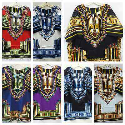 Dashiki Top Shirt Tribal African Boho Women Caftan Hippie Men Blouse S M L XL 1X