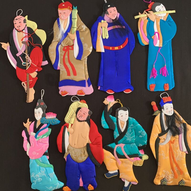 VINTAGE SILK ASIAN CHINESE EIGHT 8 IMMORTALS DOLL PAPER TEXTILE HANDMADE FIGURES