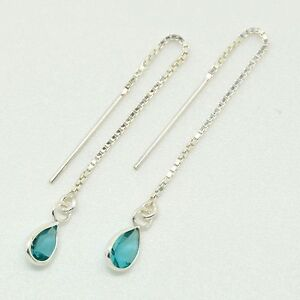925 Sterling Silver - Pull Through Earrings with Blue Tear Shaped CZ Stone